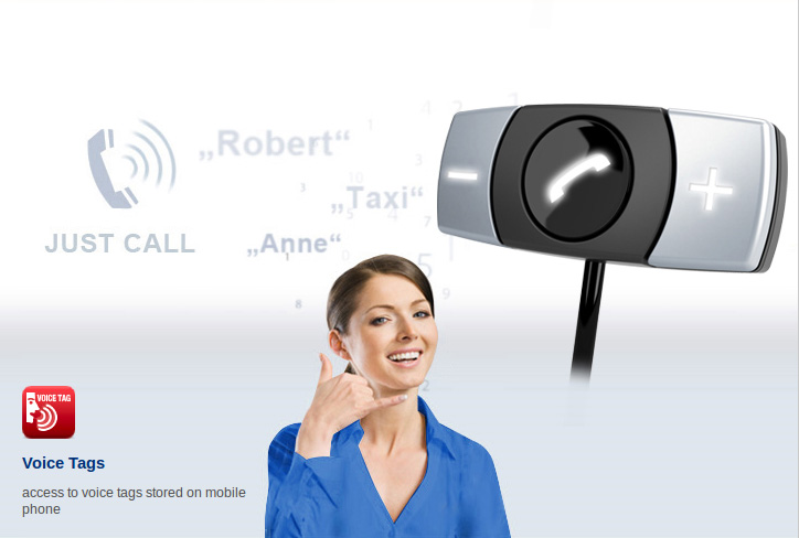 Bluetooth hands-free device with 3-key remote control and battery charge function for your mobile telephone.