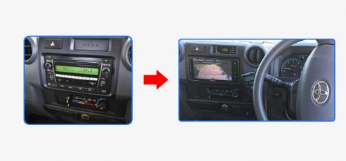 Kenwood-DDX918WS-for-Toyota-Landcruiser-70-Series—Car-Stereo-Upgrade-before-after