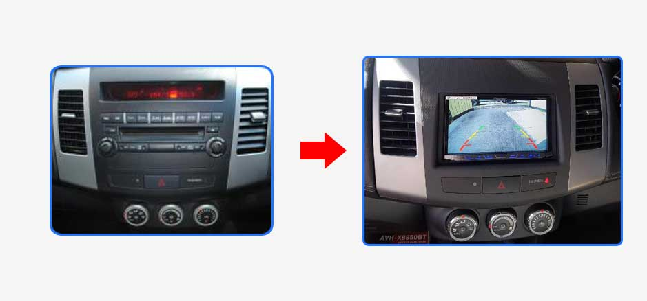 Mitsubishi Outlander Zg Zh Car Stereo Upgrade Before After on Kenwood Bluetooth Car Audio Dash Unit